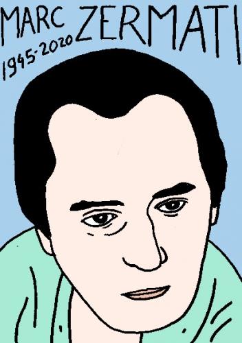 mort de MarcZermati, dessin, portrait, laurent jacquy,répertoire des macchabées célèbres,mort d'homme,