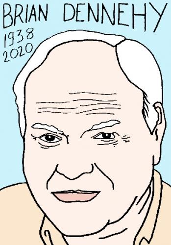 mort de Brian Dennehy, dessin, portrait, laurent jacquy,répertoire des macchabées célèbres,mort d'homme,