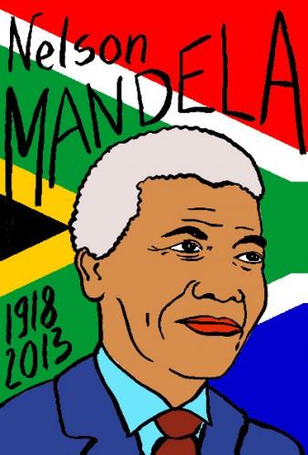 mort de Nelson Mandela,dessin,portrait,laurent jacquy,mort d'homme,répertoire des macchabées célèbres,art modeste,