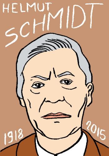 mort d'helmut schmidt, dessin, portrait, laurent jacquy,répertoire des macchabées célèbres,mort d'homme,
