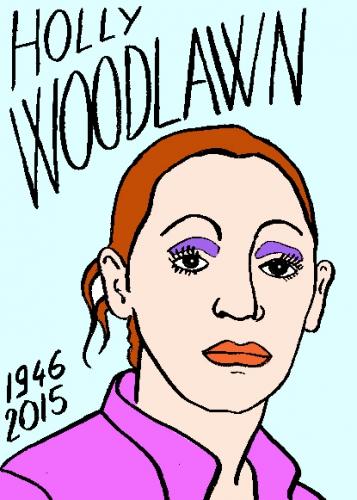 mort d'holly woodlawn, dessin, portrait, laurent jacquy,répertoire des macchabées célèbres,mort d'homme,